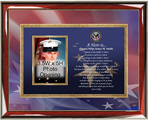 Plaque Tabletop Award (Military Photo Frame Personalized Veteran Poetry Photo Plaque Service Promotion Award Retirement Soldier Sailor Airman Military Gifts Army Navy Air Force Marine Corps Going Away USMC USAF USCG)