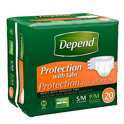 Depend Protection with Tabs, Maximum Absorbency, Small/Medium, Case/80 (4/20s)