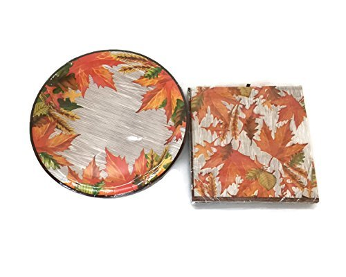 Fall Leaves Design Plates and Napkins - Autumn Plates and Napkins - 18 count for $<!--$7.47-->