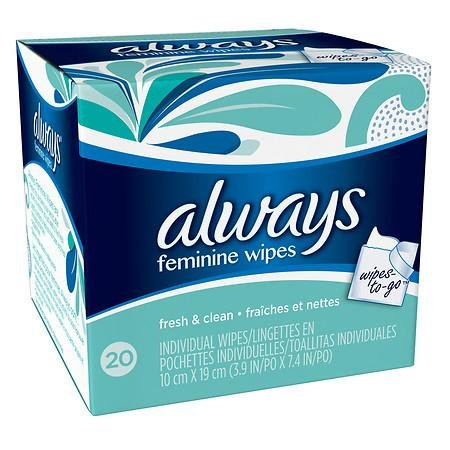 Always Feminine Wipes Individually Wrapped Fresh & Clean - 3PC