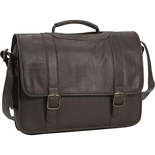 David King Porthole Briefcase (David King Porthole Leather Briefcase w/Inside Organizer in Cafe)