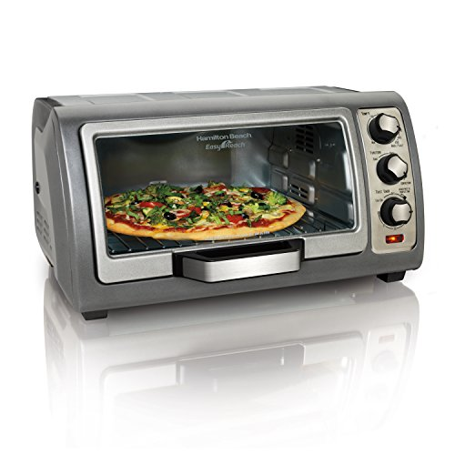 Hamilton Beach Countertop Toaster Oven, Easy Reach with Roll-Top Door, 6-Slice, Convection (31123D), - Oven Giant
