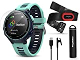 Garmin Forerunner 735XT (Frost Blue, Run-Bundle) Power Bundle | Includes HRM-Run Chest Strap, HD Glass Screen Protectors (x2) & PlayBetter Portable Charger | Multisport GPS Running Watch