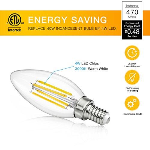 4 Pack 4w Led Filament Candelabra Bulb 40w Incandescent: SHINE HAI Candelabra LED Filament Bulbs 40W Equivalent