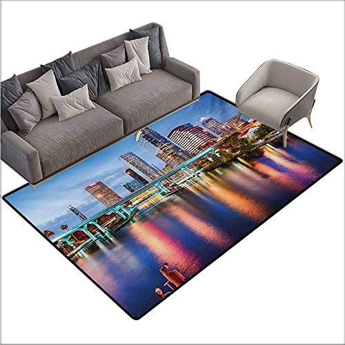 Door Rug for Internal Anti-Slip Rug City Hillsborough River Tampa Florida USA Downtown Idyllic Evening at Business District Durable W78 xL106 Multicolor -