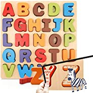 26 Piece Wooden Alphabet Puzzle, KIPPTO ABC Puzzles for Toddlers 2 3 4 Years Old. Education Learning Toy for T