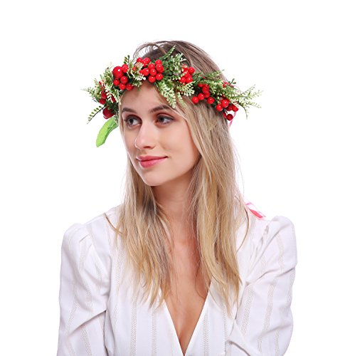 Floral Fall Adjustable Bridal Flower Garland Headband Flower Crown Hair Wreath Halo F-83 (Red Berries)