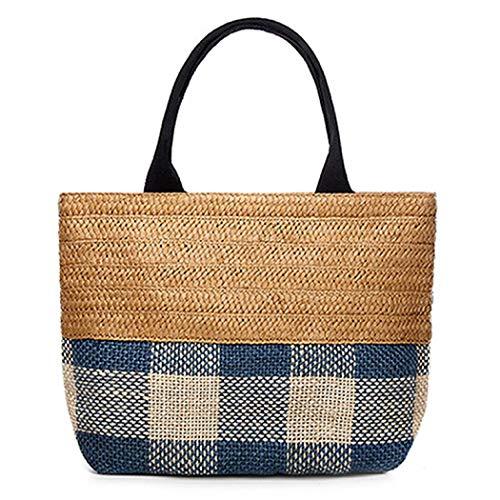 - Manyysi Straw Weave Tote Handbag Casual Summer Beach Handwoven Shoulder Bag for Women (Beige blue)