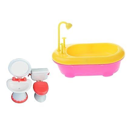 Accessori Per Vasca Da Bagno.Magideal Vasca Da Bagno Con Lavabo Toiletta Miniature Accessori Doccia Giocattoli Casa Bambola