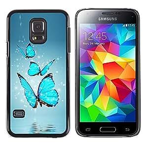 ROKK CASES / Samsung Galaxy S5 Mini, SM-G800, NOT S5 REGULAR! / BLUE BUTTERFLIES / Delgado Negro Plástico caso cubierta Shell Armor Funda Case Cover