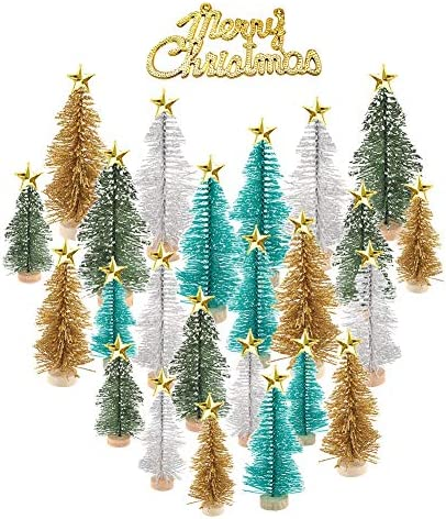 24 Alberi di Natale in Miniatura Alberi Pennello e 24 Golden Star Tree Toppers e Buon Natale Bottiglia Mini Alberi di Natale Neve in Gelo ghirlande di Natale per Natale Party Natale Table Top Decor