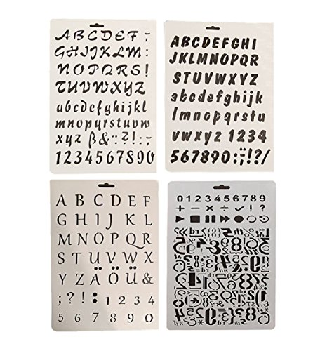 Letter and Number Stencil Sets 4 Pack for Making Signs and Art (Stencil 4 Signs)
