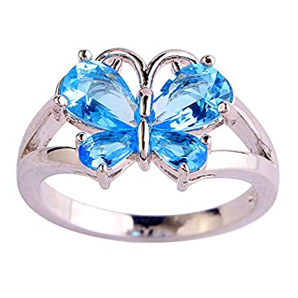Psiroy 925 Sterling Silver Created Blue Topaz Filled Butterfly Ring