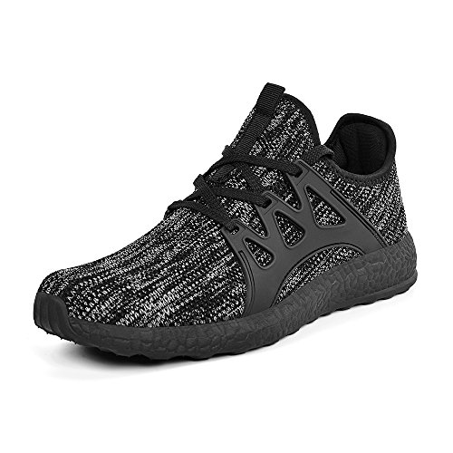 Mxson Men's Casual Sneakers Ultra Lightweight Breathable Mesh Sport Walking Running Shoes, Grey Black, 13 D(M) US