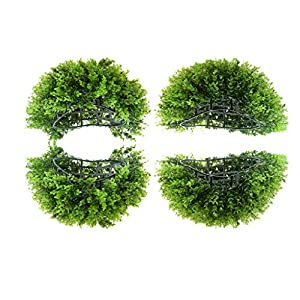 Flameer 2 Set Green Artificial Topiary Ball Garden Plant Flower Ball Sphere Pomander Decorative Foliage 91