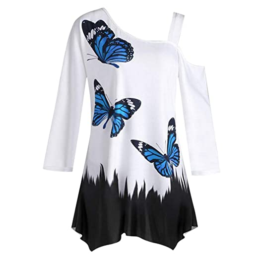 a924ba0a1e13 Amazon.com: Womens Blouses, Women's Butterfly Print One Shoulder Long  Sleeve Tunic T-Shirt Loose Blouse Tops: Clothing