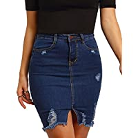 MakeMeChic Women's Basic Casual Ripped Pocket Short Mini Denim Skirt