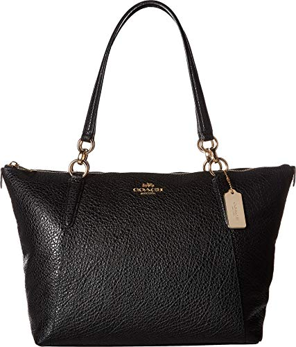 (COACH Women's Leather Ava Tote Black One Size )
