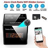 Hidden Camera Clock - Spy Cameras Alarm Clock Radio - Nanny Cams Wireless with Cell Phone APP - HD 960 FM Bluetooth Speaker USB Charging Night Vision & Motion Detection 128Gb Storage 16GB Gift