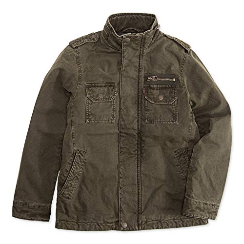 Levi's Boys' Big Full Zip Jacket, Olive Night, S (Leather Jacket Boys 8 20)