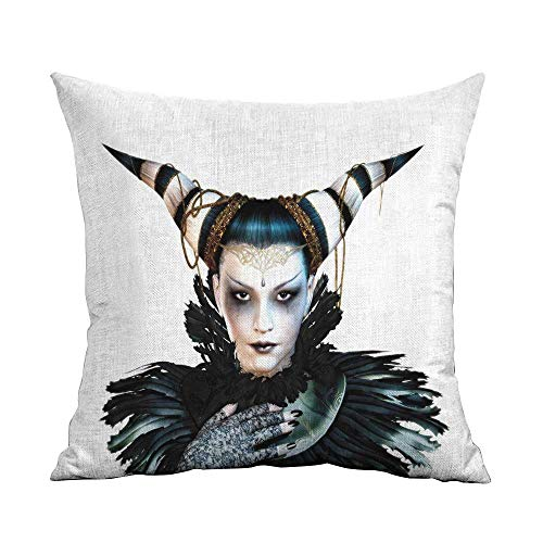 FreeKite Fantasy Printed Custom Pillowcase Portrait of a Gothic Lady with a Carnival Costume Black Lipstick and Hair Horns Decorative Sofa Hug Pillowcase W18 x L18 Inch White Black