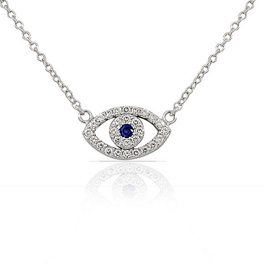925 Sterling Silver Evil Eye Hamsa White Blue CZ Womens Pendant Necklace