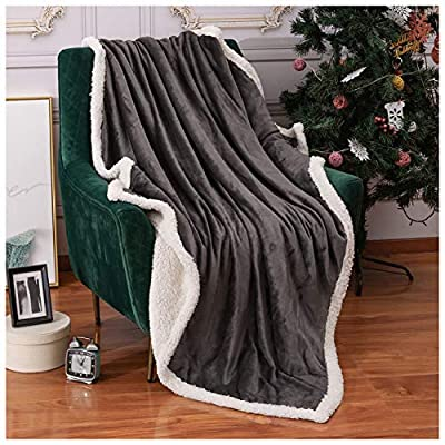 Homelike Moment Sherpa Fleece Throw Blanket for Couch Gray Plush FuzzyBlanket Throw Size Soft Warm Sherpa Blankets Bed Throws Grey 50x60 Inches - HYPOALLERGENIC & REVERSIBLE. The sherpathrowblanket is OEKO-TEX Standard 100 certificated, which is tested for harmful substances. This ensure our grey fleeceblanket is allergy resistant. The couchthrowblanket is reversible design, one side is super soft flannel fleece dark gray color, the other side is plush fuzzy sherpa, bring you ultimate soft and warmth WARM & DECORATIVE. The fluffythrowblanket is perfect for your couch, sofa, bed, office and outdoor. The mink throw blanket keep you warm and cozy while you taking a nap, watching TV, reading books, relaxing on sofa, traveling and camping. Also it can be decorativethrowblanket for your home ALL SEASON USE & GIFT CHOICE. The plushthrowblanket is warm, cozy, soft and lightweight, it can be used all season. The sofathrowblanket is an ideal gift choice for your family and friends on Father's Day, Mother's Day, Birthday, Christmas, New Year, Housewarming or Back to School - blankets-throws, bedroom-sheets-comforters, bedroom - 51oVjni8WlL. SS400  -
