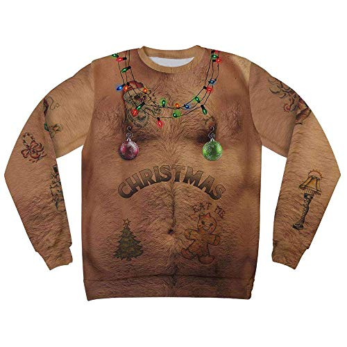 kaifongfu Men Christmas 3D Print Shirt, Hooded, Sweatshirt, O Neck Xmas Tops (XXXL, Men ()