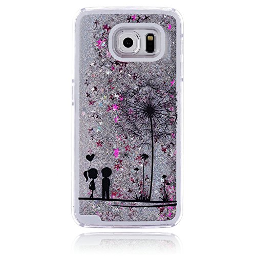 Price comparison product image Urberry Galaxy S6 Case, Running Glitter Cover, Floating Liquid Luxury Bling Glitter Sparkle Hard Case for Samsung Galaxy S6 with a Screen Protector (Silver)