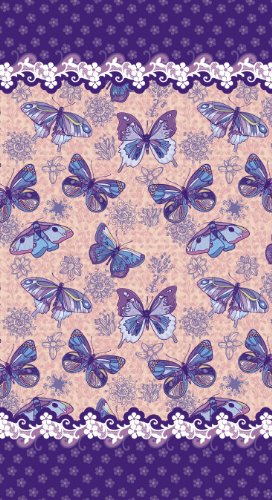 New Butterflies Velour Beach Towel, 40x72 inches Made in Brazil by Bahia Collection by Dohler