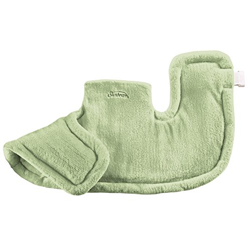 Home Health Heating Pad (Sunbeam Renue Heat Therapy Neck and Shoulder Wrap Heating Pad with Moist/Dry Heat, Spa Green)