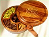 Holy Lama Naturals - Spice Box - Gift Of Spices (Large) - Hand Crafted Rose Wood Box With 6 Whole Spices