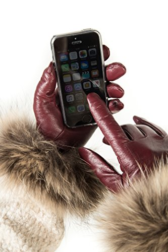 Avenue Leather Gloves (Luxury Leather Gloves For Women, Touchscreen Cold Weather Long Sleeve Gloves - Rabbit Fur Cuffs - With Thinsulate Liner - Burgundy - Medium)