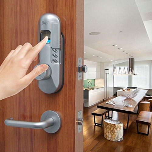 Assa Abloy Digi Keyless Keypad Fingerprint Door Lock Deadbolt Deadlock Knob Lever Handle 98b High Security (Satin Chrome) (Left Lever Handle) Assa Abloy Digi