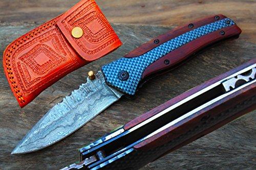 "3.3"" Damascus Blade Folding Knife w/Easy Liner Lock,File-work,Gray Oxides Coating on Alloy Steel Handle, Pocket Clip & Leather UDK-Fusa-221"