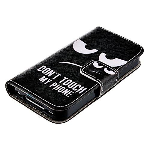 HB-Int 4et1 Cartoon Style PU Cuir Coque Étui Swag Luxe pour iPhone 4 iphone 4s Citation Blanc Stand Fonction Magnétique Anti Choc Folio Protection Case Visage Oeil Colère Silicone Souple Shell Noir Co