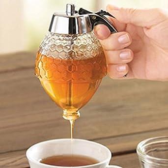 Dispensador de jarabe de miel antigoteo cristal Pot Vintage americano no goteo contenedor: Amazon.es: Amazon.es