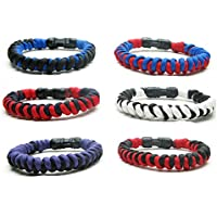 Frogsac Paracord Bracelets for Men Boys Women Girls Kids 6 PCs - Twisted Survival Tactical Bracelet Braided with 550 lbs Parachute Cord - Camping Gifts, Scouts Accessories - Great Party Favors