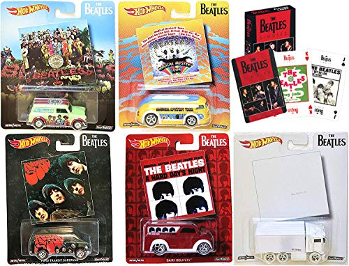 Set Poker Commemorative (Hot Wheels Singles The Beatles Album Covers Pop Culture Collectibles + Playing Card Pack - The White Album / Rubber Soul / A Hard Days Night / Magical Mystery Tour / Sergeant Peppers)