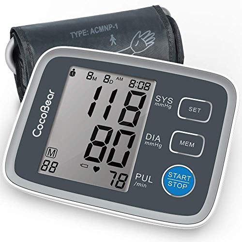 CocoBear Blood Pressure Monitor Upper Arm Digital Automatic BP Monitor for Home Use, 2 * 90 Memory Storage Adjustable Cuff Batteries Included Gray