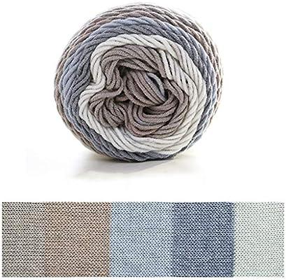 Hilo de algodón para tejer, 100 g, 5 hebras, hilo de ganchillo tejido a mano, de algodón arcoíris para manta G: Amazon.es: Hogar