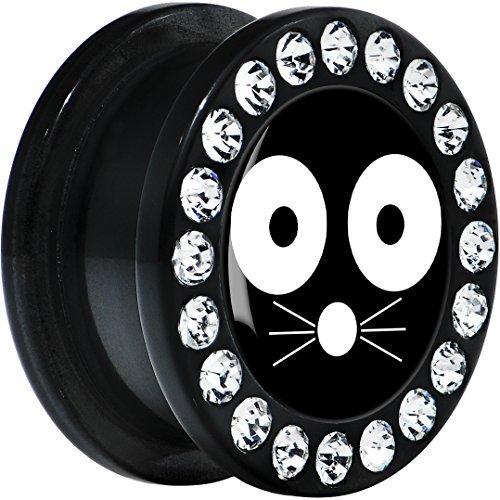 Acrílico Negro Monocromo Cara Gato Dilatador Ajuste Rosca Par 18mm: Amazon.es: Joyería