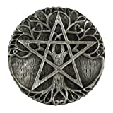Pewter Tree Pentacle Wiccan Ritual Altar Plate Tile Paten
