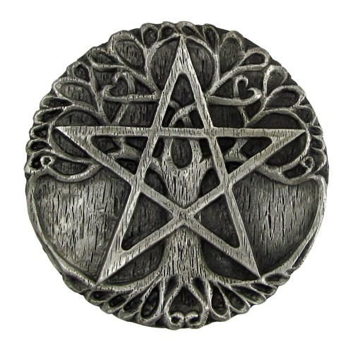 Pewter Tree Pentacle Wiccan Ritual Altar Plate Tile Paten by Dryad Design