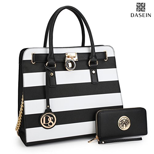 Dasein Top Belted Padlock Stripe Tote Briefcase Satchel Shoulder Bag w/ Matching Wallet