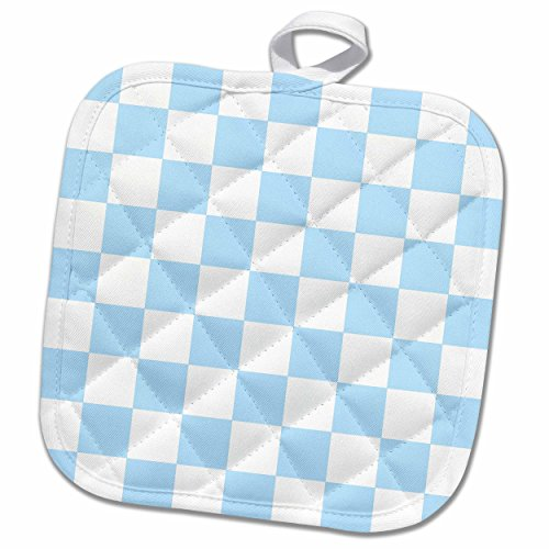 3dRose InspirationzStore patterns - Checkered light blue and white squares pattern - baby pastel check checked checkerboard chessboard - 8x8 Potholder (Pastel Checker)