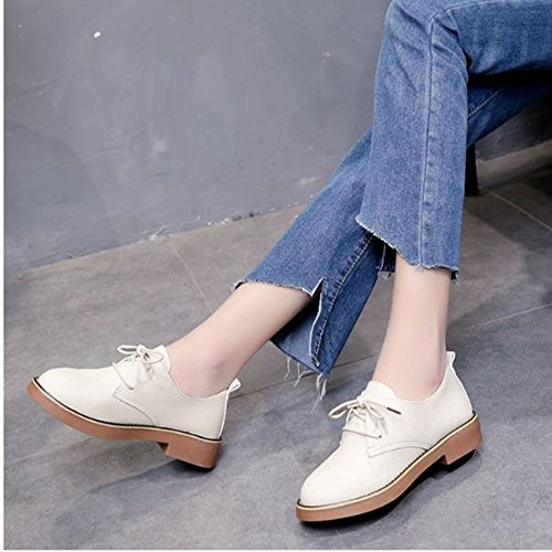 Girl's Yangjiaxuan Leather White Flat Shoes Casual Shoes White Bean Women's Lace Shoes Soft Bottom Shoes dtww6aqr