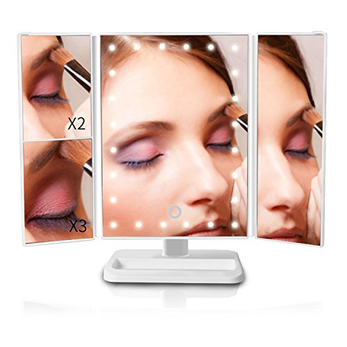 Zinnor Makeup Mirror Vanity Trifold 24-LED Lighted with Touch Screen, 1x/2x/3x Magnification,90 Degree Free Rotation Table Countertop Cosmetic,Three Folding Table LED Lamp Bathroom Light (White)