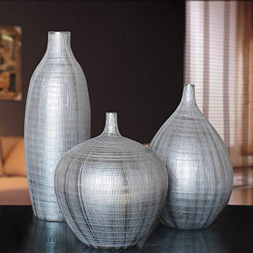 Winpavo Dekoartikel Skulpturen Silberne Vasen Wohnzimmer Dekoration Modell Raum Weichen Heimtextilien Ornamente Nordic Mode Kreative TV Schrank Handwerk Matt Silber Vase Set