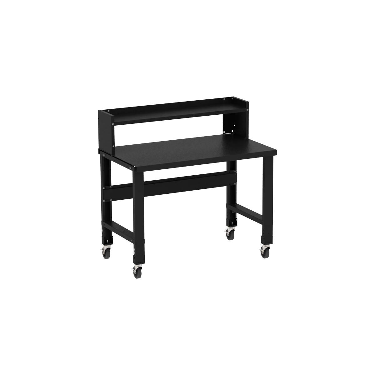 Borroughs Adjustable Height Black Painted Top Workbench with Ledge Shelf, 28 in x 48 in
